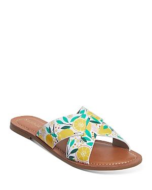 Women's Lemon Print Slotted Crossover Leather Slide Sandals