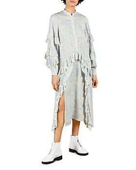 Ted Baker - Marble Print Silk Ruffled Midi Dress