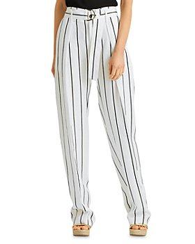 Ralph Lauren - Striped Belted Wide Leg Pants