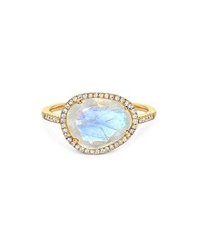 Zoe Lev - 14K Yellow Gold Diamond Moonstone Ring
