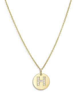 "Zoe Lev - 14K Yellow Gold Diamond Initial Pendant Necklace, 16-18"""