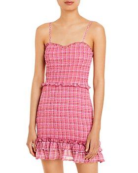 AQUA - Printed Smocked Mini Dress - 100% Exclusive