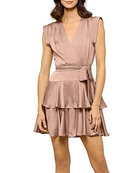 BCBGMAXAZRIA - Eve Tiered Satin Mini Dress