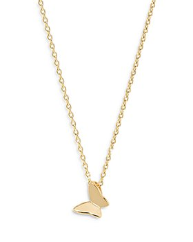 """AQUA - Butterfly Pendant Necklace in 18K Gold Plate, 16""""- 18"""""""
