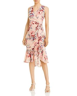 Sleeveless Flutter Hem Textured Floral Dress