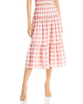 AQUA - Gingham Print Midi Skirt - 100% Exclusive