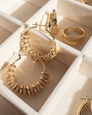 Pave Washer Beaded Hoop Earrings in Gold Tone