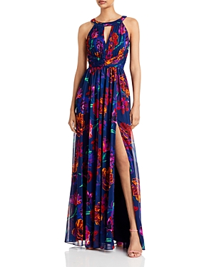 Floral Chiffon Pleated Bodice Gown