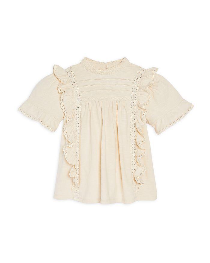 AQUA - Girls' Cotton Lace Trim Ruffle Top, Big Kid - 100% Exclusive