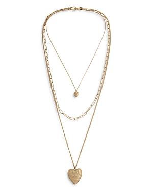 Allsaints Double Heart Triple Chain Pendant Necklace, 18.5-30