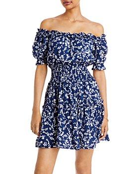 AQUA - Off-the-Shoulder Smocked Mini Dress - 100% Exclusive