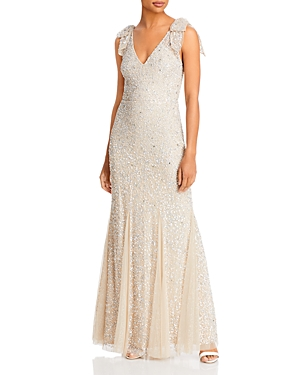 Embellished Bow Strap Gown