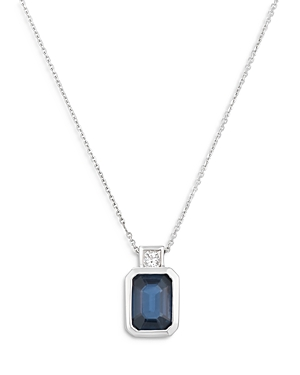 Bloomingdale's Blue Sapphire & Diamond Halo Pendant Necklace in 14K White Gold, 16 - 100% Exclusive