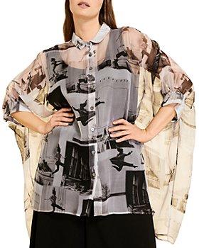 Marina Rinaldi - Favilla Sheer Graphic Silk Oversized Shirt