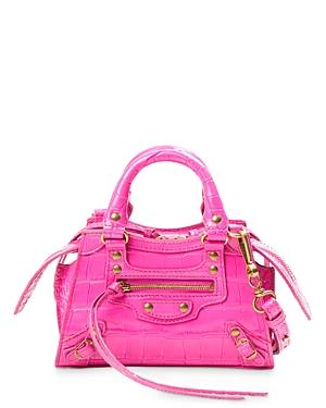Balenciaga Croc-Embossed Mini Leather Shoulder Bag