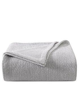 Vera Wang - Chenille Pique Hypoallergenic Grey Blanket