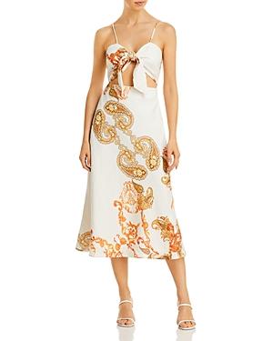 Paisley Linen Cutout Midi Dress