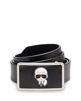 KARL LAGERFELD PARIS - Men's Karl Head Plaque Buckle Saffiano Leather Belt