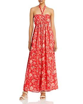AQUA - Printed Halter Maxi Dress - 100% Exclusive