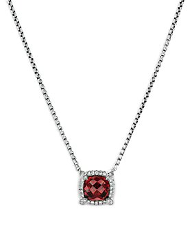 """David Yurman - Sterling Silver Chatelaine Pendant Necklace with Garnet & Diamonds, 18"""" - 100% Exclusive"""