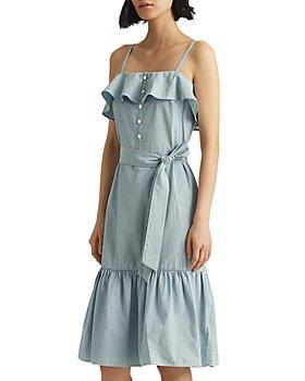 Ralph Lauren - Ruffled Sleeveless Chambray Dress