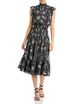 AQUA - Ruffled Printed Midi Dress - 100% Exclusive