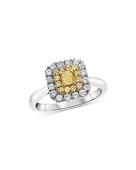 Bloomingdale's - Yellow & White Diamond Halo Ring in 18K White & Yellow Gold - 100% Exclusive