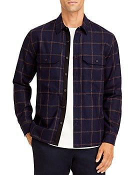 Vince - Wool Blend Crosshatch Windowpane Classic Fit Button Down Shirt Jacket