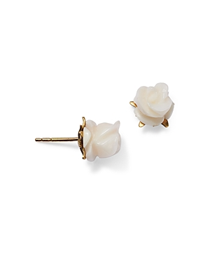 18K Yellow Gold White Coral Rose Blossom Stud Earrings