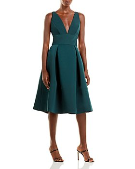 Amsale - Faille V-Neck Fit-and-Flare Dress