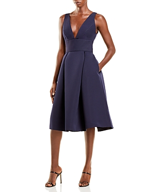 Faille V-Neck Fit-and-Flare Dress