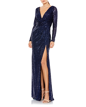 Mac Duggal Sequined V-Neck Long Sleeve Gown