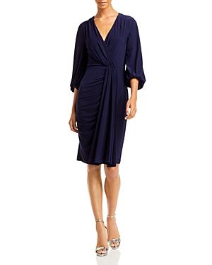 Faux Wrap Draped Midi Dress