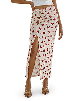 Musier - Butterfly Print Midi Skirt