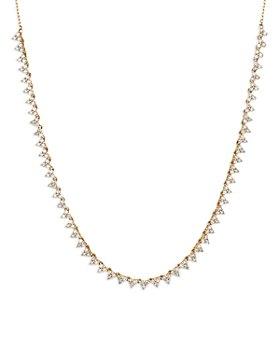 "Adina Reyter - 14K Yellow Gold Riviera Diamond Statement Necklace, 14-16"""