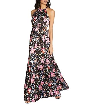 Floral Print Satin Maxi Dress