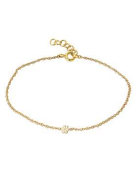 Zoe Lev - 14K Yellow Gold Diamond Flower Chain Link Bracelet