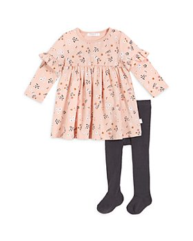 FIRSTS by petit lem - Girls' Floral Print Dress & Ribbed Tights Set - Baby