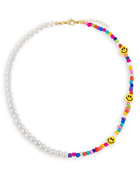 """Adinas Jewels - Smiley Face, Neon Multicolor Bead & Faux Pearl Choker Necklace in Gold Tone, 14.5""""-16.5"""""""