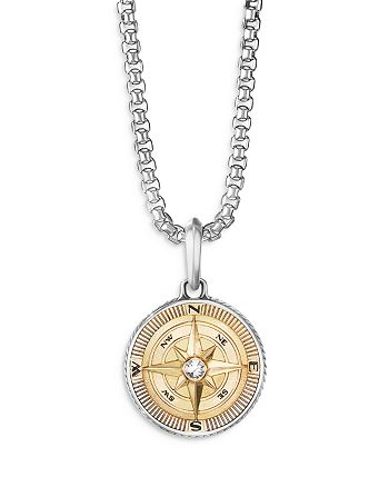 David Yurman - Men's 18K Yellow Gold & Sterling Silver Maritime Compass Amulet with Diamond