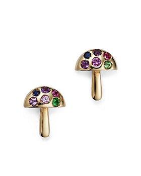 Moon & Meadow - 14K Yellow Gold Multi Stone Mushroom Stud Earrings - 100% Exclusive
