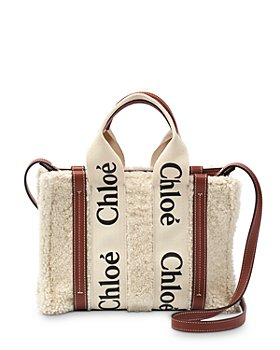 Chloé - Woody Leather Trimmed Small Shearling Tote