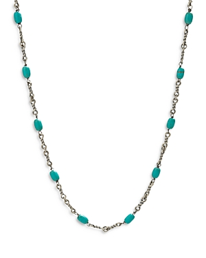 Turquoise Cable Chain Necklace in Sterling Silver