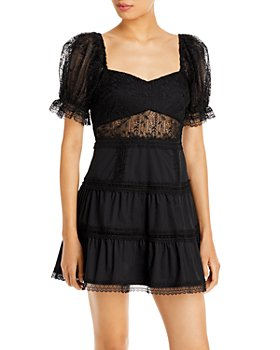 Lucy Paris - Lace Puff Sleeve Sweetheart Dress