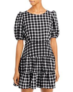 AQUA - Plaid Puff Sleeve Mini Dress - 100% Exclusive