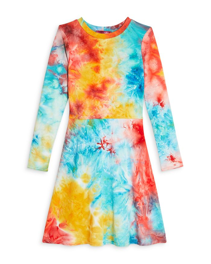 AQUA - Girls' Tie Dye Long Sleeve Dress, Big Kid