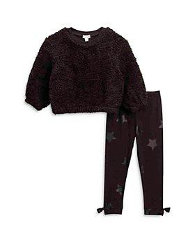 Splendid - Girls' Faux Sherpa Sweater & Star Leggings - Little Kid