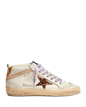 Golden Goose Women's Star Leopard Print Mid Top Sneakers