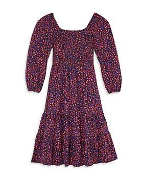 AQUA - Girls' Long Sleeve Leopard Print Dress, Big Kid - 100% Exclusive