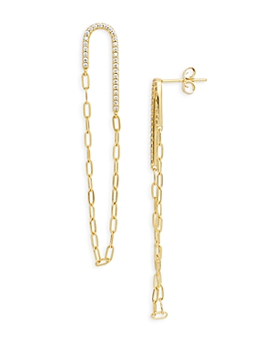 Pave & Chain Loop Drop Earrings in 14K Gold Plated Sterling Silver